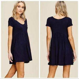 Dresses & Skirts - CLAIRE EMPIRE WAIST LOOSE MINI DRESS POCKETS NAVY